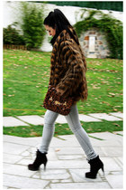 dark brown Zara shoes - dark brown Stradivarius coat - periwinkle BLANCO jeans -