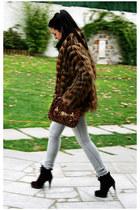dark brown Zara shoes - dark brown Stradivarius coat - periwinkle BLANCO jeans -
