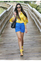 blue Mango shorts - yellow kimono Zara shirt - black Tommy Hilfiger bag