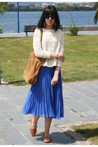 bronze Zara shoes - bronze Mango bag - ivory Zara jumper - blue Zara skirt