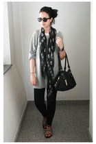 black Alexander McQueen scarf - black Tommy Hilfiger bag - black H&M sunglasses