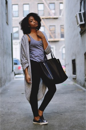 boucle shawl American Apparel cardigan - Forever 21 bag - slip on asos sneakers