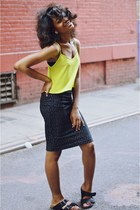 chartreuse crop cami Topshop top - black American Apparel skirt