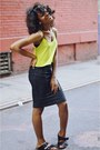 Chartreuse-crop-cami-topshop-top-black-american-apparel-skirt