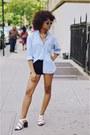 Sky-blue-denim-thrifted-shirt-black-woven-silence-noise-shorts