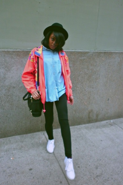 black H&M hat - hot pink vintage jacket - black H&M leggings