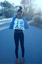 black skinnys Forever 21 jeans - white diy Arizona shirt - light blue thrifted G