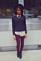 black fedora H&M hat - maroon skinny Bullhead Denim jeans - black H&M sweater