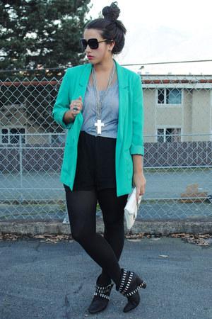 aquamarine H&M blazer - black Zara boots - black Aritzia shorts