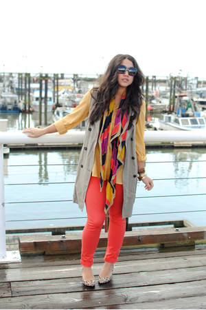 orange Gap scarf - carrot orange BB Dakota jeans - tan Graham  Spencer vest