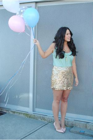 gold Joe Fresh skirt - light blue Aritzia top - peach vintage heels