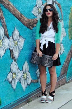 Zara heels - aquamarine Kersh sweater - black H&M skirt - white vintage blouse