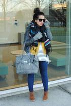 heather gray le chateau jacket - ivory H&M shirt - mustard winners cardigan