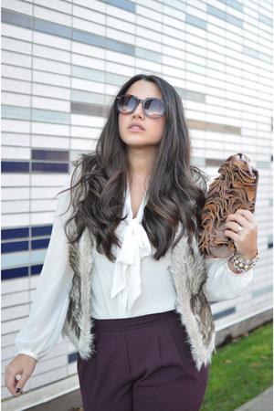 ivory H&M blouse - beige modcloth vest - puce Aritzia pants