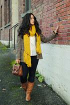 camel vintage blazer - bronze Steve Madden boots - yellow modcloth scarf