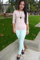 Ladys necklace - black flats - nude H&M blouse - aquamarine H&M pants