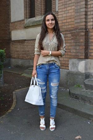 white Bfashion shoes - blue Zara jeans - tan shirt - white bag
