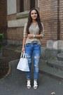 White-bfashion-shoes-blue-zara-jeans-tan-shirt-white-bag