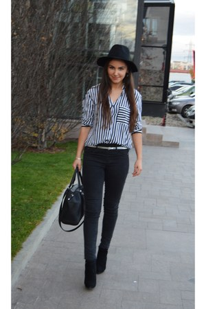 black Bfashion boots - black Terranova hat - white Zara shirt - black H&M bag