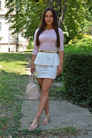 light pink New Yorker bag - white peplum Bershka skirt - gold Otter sandals