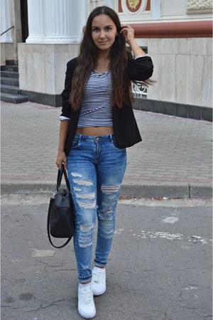blue Zara jeans - black blazer