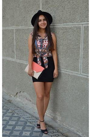 white H&M top - black hat - salmon purse - black skirt