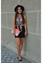 white H&M top - black hat - salmon purse - black skirt