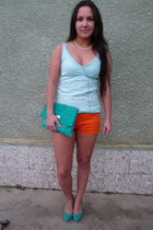 turquoise blue envelope Atmosphere bag - carrot orange unknown brand shorts
