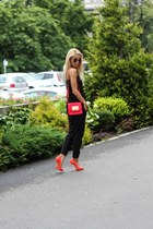 carrot orange blades Casadei heels - red H&M bag - black Alexandra Avram pants