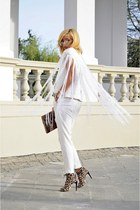 white fringed Atelier Jaisse vest - camel H&M necklace - white blacn Zara pants