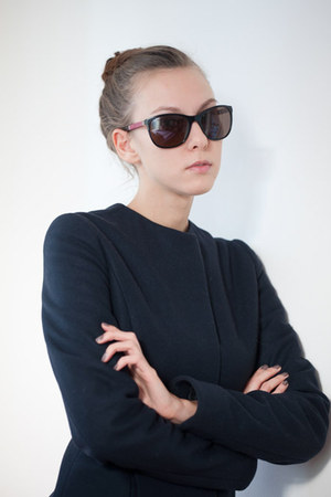 pink Chanel sunglasses - navy wool custom made jacket