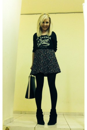 black Stradivarius boots - black Bershka dress - black bag