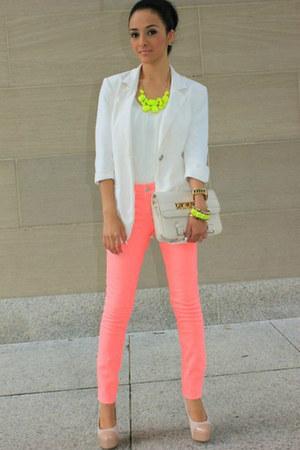 bubble gum asos jeans - white asos blazer - nude nude patent Topshop heels