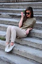 white Sisley boots - beige Zara pants - green Topshop blouse