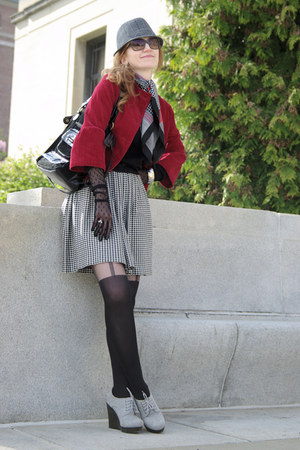 black mock suspender Fiore tights - charcoal gray H&M hat - ruby red jacket
