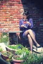 blue altered vintage dress - dark gray Nordstrom tights - black thrifted pumps -