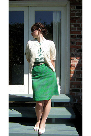 aquamarine thrifted blouse - green thrifted vintage skirt - ivory thrifted cardi