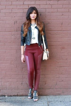 H&M leggings - Forever 21 jacket - H&M blouse - rachel roy wedges
