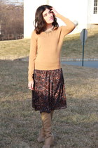 burnt orange Forever 21 skirt - nude Charlotte Russe boots