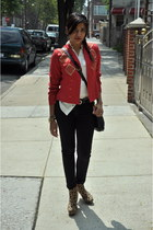 red thrifted blazer - black Forever 21 shoes - white Michael Kors blouse
