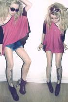 pink Clothing Loves top - denim frayed romwe shirt