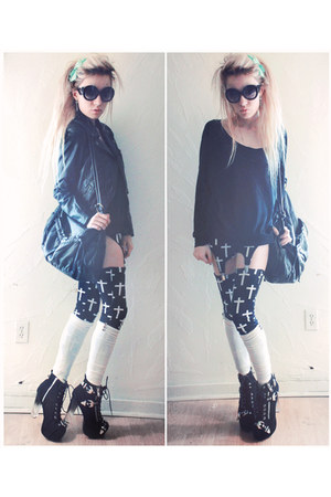 black large bag deux lux bag - Jeffrey Campbell boots - black leather H&M jacket