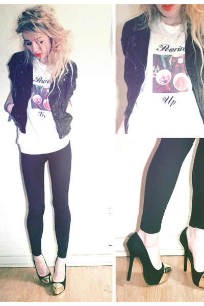 pourin up print lavagrantbelle shop t-shirt - black leather H&M jacket
