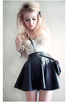 romwe skirt - studded bustier handmade top