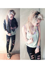 Ripped-black-pacsun-jeans-leather-h-m-jacket-free-people-top