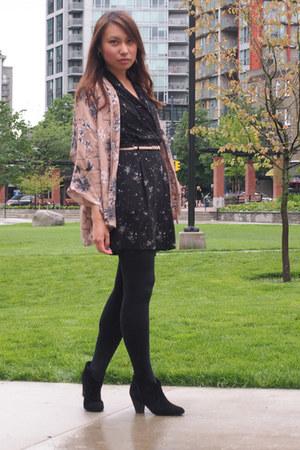 black Report boots - black wilfred dress - pink Zara cardigan