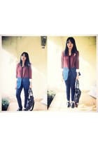 brick red black label blazer - black adorable boots - black Pull and Bear jeans