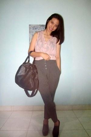 pink Picnic shirt - black adorable boots - black Forever 21 bag