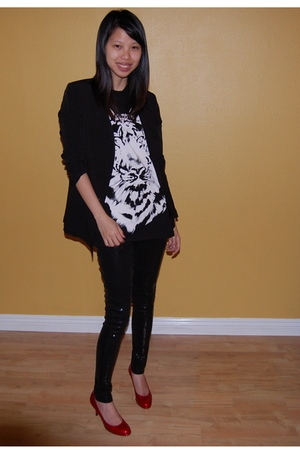 black Silence & Noise blazer - Topshop shirt - Zara pants
