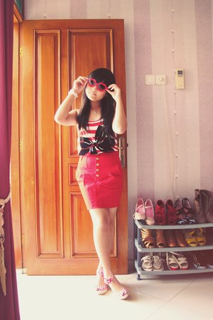 red Mango top - red Zara skirt - red Stradivarius wedges